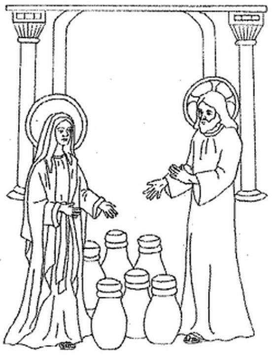Free coloring pages of wedding at cana for Wedding at cana coloring page